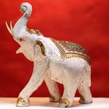 hand carved wooden elephant statue in white from thailand u2022 artifactio