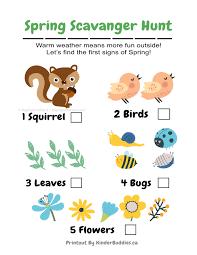 spring scavenger hunt free printable kinder buddies childcare