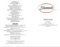 martini bar menu happy hour menu giannis steakhouse