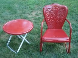 Metal Lawn Chair Vintage by Vintage Motel Chair Bouncy Metal Lawn Chair U0026 Sidetable Ebay