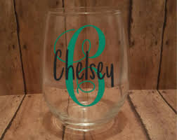 wine glass with initials engraved wine glass vine monogram 2 styles monogrammed wine