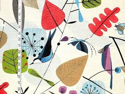 scandinavian fabric retro modern graphic bird leaves from brick