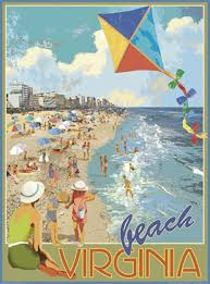 virginia beach kite vintage art deco style travel poster by