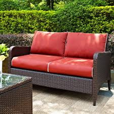 crosley kiawah outdoor wicker loveseat with sangria cushions free