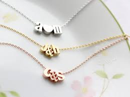 initials necklace silver initials necklace with ampersand or heart gold silver or