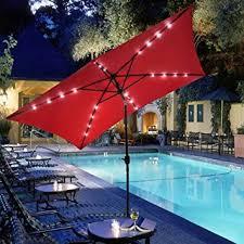patio umbrella with solar led lights amazon com gc global direct rectangular outdoor umbrella with