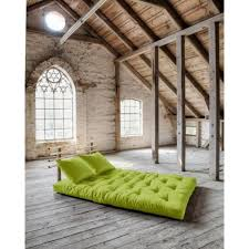 canapé lit futon pas cher canapé lit en pin massif shin sano futon pistache couchage 140 200cm