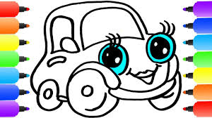 car coloring pages how to draw car learn colors for kids with