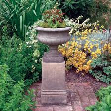 Buy Planters Victorian Stone Urn On Plinth Large Garden Planter Buy Now At