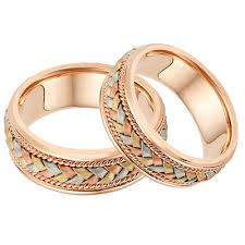 Rose Gold Wedding Ring by 14k Rose Gold And Tr Color Braided Wedding Band Ring Set