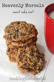 making life blissful heavenly morsels 3 ings 1 can sweetened condensed milk 1 pkg choc chips approx 2 cups graham er crumbs mix 2