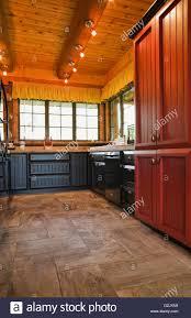 black kitchen cabinets in log cabin kitchen black wooden cabinets inside a cottage style log