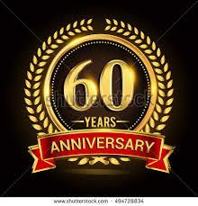celebrating 60 years celebrating 60 years anniversary wreath ribbon stock vector