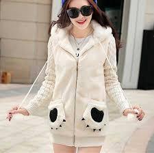 Warm Winter Coats For Women Fluffy Panda Hoodies With Fur Ball Warm Winter Coats For Women