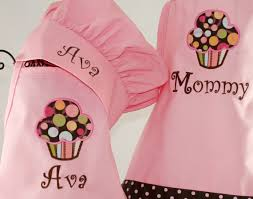 Customized Aprons For Women Mommy U0026 Me Personalized Apron Cupcake Pink Apron Set Girls Chef