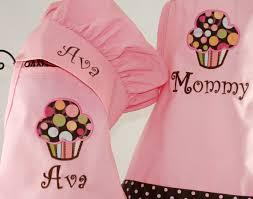 Customizing Kitchen Aprons Mommy U0026 Me Personalized Apron Cupcake Pink Apron Set Girls Chef