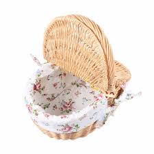 wicker camping picnic basket shopping storage hamper with lid and