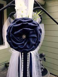 navy blue chair sashes navy blue pew bows chair bows white wedding church aisle