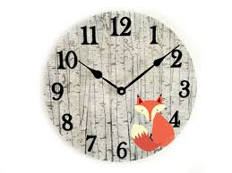 fox wall clock woodland nursery wall decor rustic nursery