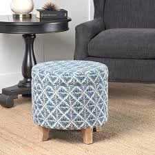 homepop cole classics round storage ottoman flared wood leg in