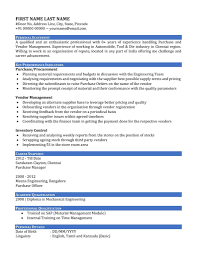 Sap Basis Sample Resume by Sample Resume Cv Of A Purchase Manager In India