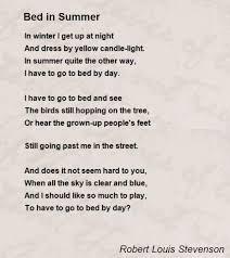 Light One Candle Lyrics Bed In Summer Poem By Robert Louis Stevenson Poem Hunter