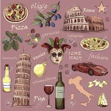 Pompeii Map Set Of Italy Icons Hand Drawn With National Italian Food Sights