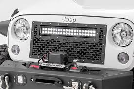 jeep lights on top mesh replacement grille with 20in led light bar for 2007 2017 jeep