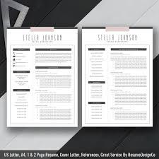 template cover letter cv modern resume template cover letter cv template by resumedesignco