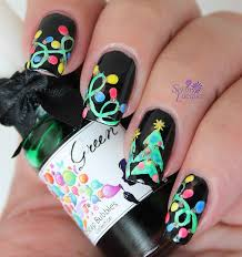 up in lights holiday tree nail art set in lacquer