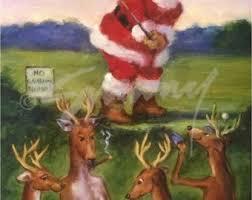 christmas cards of santa putting a christmas