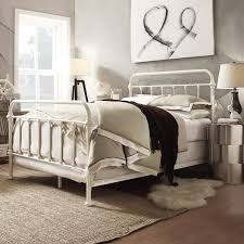 Steel King Bed Frame by Giselle Antique White Graceful Lines Victorian Iron Metal King
