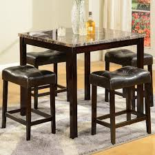 Sofa Table With Stools Crown Mark Kinsey 5 Piece Faux Marble Counter Table U0026 Upholstered