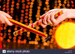 Decorate Dandiya Sticks Home by Indian Couple Gujrati Navratri Dandia Stock Photo Royalty Free