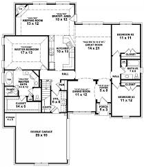 3 Bedroom House Plans With Basement Plain House Floor Plans 4 Bedroom 3 Bath Ranch Large 2 Double Wide