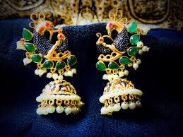 earrings uk green and pearl gold plated peacock traditional indian