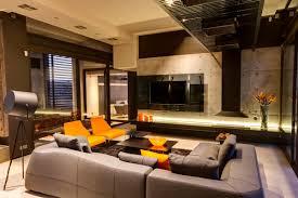 exposed concrete wall living room sofa lighting luxurious