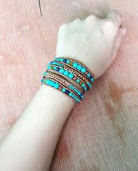 turquoise beads bracelet images Turquoise stone with leather gold beads bracelet chakras store jpg