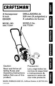 crafstman craftsman edger 536 772301 user guide manualsonline com