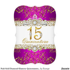 pink gold diamond glamour quinceanera invitation quinceanera