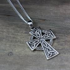 celtic cross mens necklace sterling silver mens irish jewelry