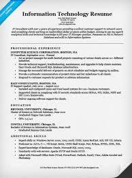 it resume sample resume templates