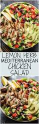 grilled lemon herb mediterranean chicken salad that is full of