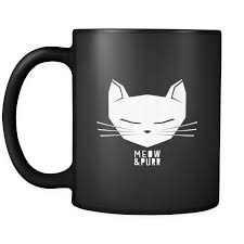 cat animal mug u0027meow and purr u0027 quote and cute cat on black