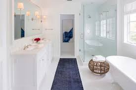 Design For Bathroom Runner Rug Ideas White And Blue Contemporary Bathroom With Dark Blue Overdyed Rug