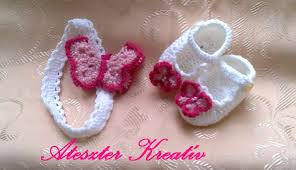 crochet baby headband crochet baby shoes and headband with pink butterfly baby