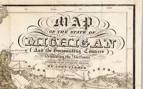 Map Of The State Of Michigan by 1866 Cartouche John Farmer Map Library Msu Libraries
