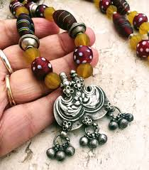 long ethnic necklace images Trade beads necklace rajasthan silver necklace red yellow JPG