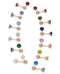 children s 14k gold earrings children s birthstone reversible stud earrings in 14k gold