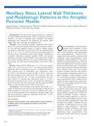 maxillary sinus lateral wall thickness and their morphologic